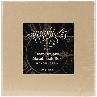 """Grafik 45 Häftklamrar djup matchbok Box 6""""X6""""X3"""" - Kraft"""