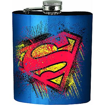 Superman Splatter Symbol Blue Flask