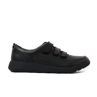 Clarks Softly Toby Grey Leather Boys Rip Tape Shoes