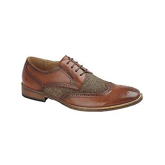 Goor Tan Pu/woven Textile 4 Eye Brogue Gibson Shoes + Leather Quarter Lining
