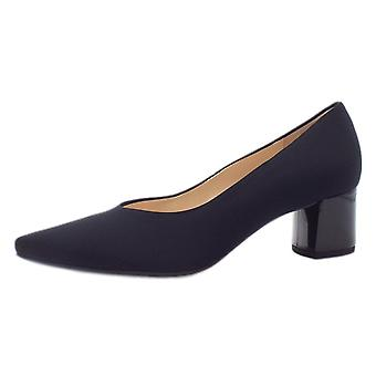 Högl 8-10 4538 Gently Stylish Pointed Toe Court Shoes In Black Stretch