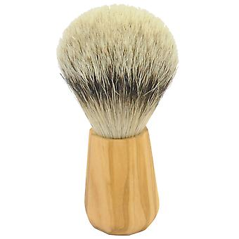 Gold roof shaving brush with badger silver tip olive wood handle