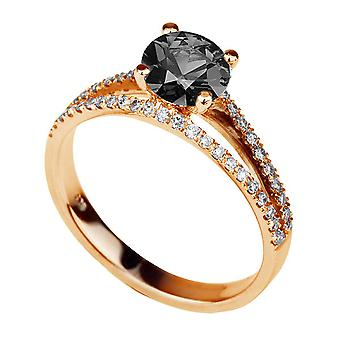 14 K Rose Gold 1,86 CTW Black Diamond Ring met diamanten Split Shank Vintage