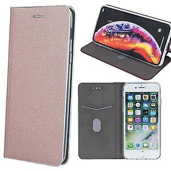 Huawei Y6 (2019) - Smart Fusion Flip Case mobile lompakko -vaaleanpunainen kulta