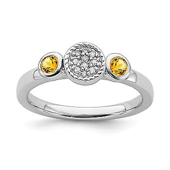 925 Sterling Silver Bezel Polished Prong set Stackable Expressions Db Round Citrine and Dia. Ring Jewely Gifts for Wome