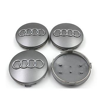 Silver Audi Wheel Centre Caps Hub Badges 60mm 4PCS For A3 A4 A6 A8 TT