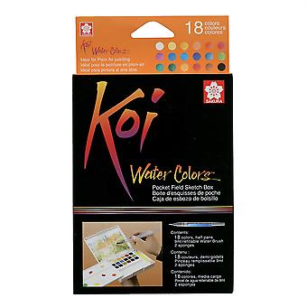 Koi Water Colors Pocket Field Sketch Box Set of 18 Colours