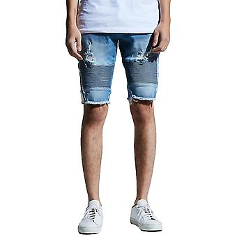 Embellish Bolt Biker Shorts Blue White