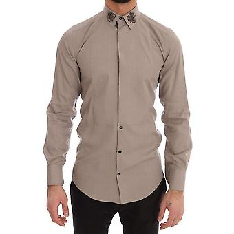 Dolce & Gabbana Beige Crystal Bee GOLD SLIM Fit Shirt