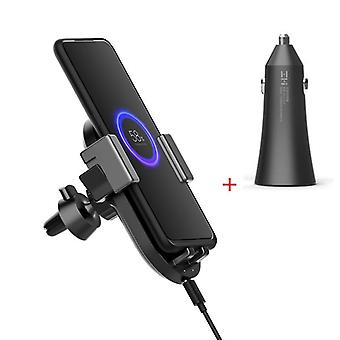 Zmi wcj10 20w qi wireless car charger with car charger fast charging phone holder for iphone x for samsung xiaomi huawei   (with car charger)