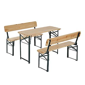 Outsunny Portable Folding Camping Picnic Trestle Beer Table and 2 Bench Set Wooden Garden Furniture Patio Dining Party BBQ Chairs Stools