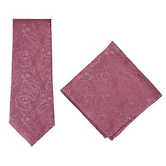 Michelsons of London Ornate Jacquard Silk Tie and Pocket Square Set - Red