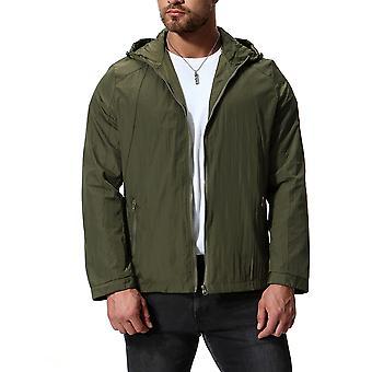 Cloudstyle Men's Jacket Solid Zipper Hooded Casual Outwear