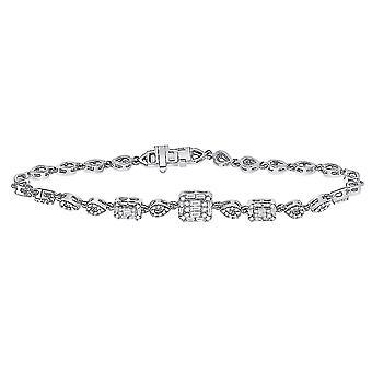 3/4 Carat (ctw G-H, I1-I2) Diamond Baguette Geometric Bracelet in 14K White Gold