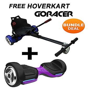 G PRO Purple Segway with a Racer Hoverkart in Black