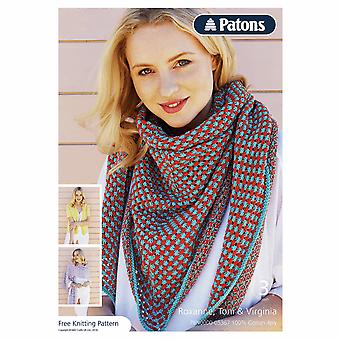 Patons Knitting Pattern - 4 Ply - Shawls, 3 Designs
