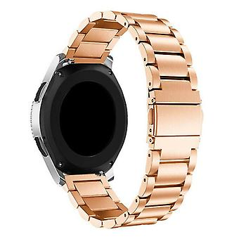 For Samsung Galaxy Watch Active Band 42 46mm Stainless Steel Strap[42 mm,Rose Gold]