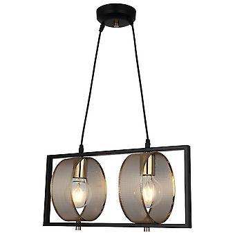 Lámpara de suspensión Sama Color Oro, Black metal, L18.5xP46xA98 cm