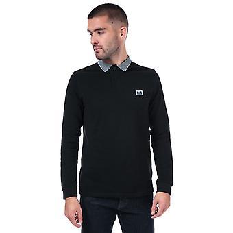 Men's Weekend Offender Tennants Checker Long Sleeve Polo Shirt in Black