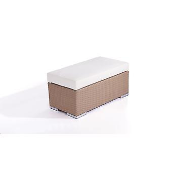 Polyrattan Cube kruk 45 cm - karamel