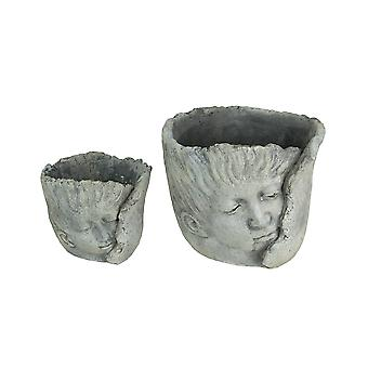 Set of 2 Weathered Finish Concrete Leaf Wrap Face Planters Small and Large