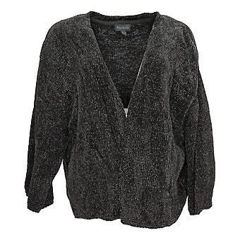 AnyBody Women's Sweater Chenille Cropped Cardigan Gray A345313