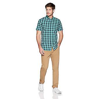 Goodthreads Men's Slim-Fit Short-Sleeve Gingham Plaid, Teal/Navy, Size XX-Large
