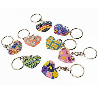 Bright Patterned Clay Heart Keyring - Cracker Filler Gift