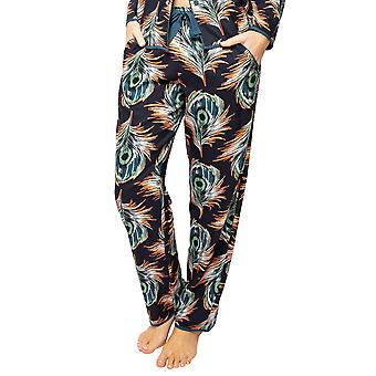Cyberjammies Elena 4566 Women's Black Peacock Feather Print Pyjama Pant