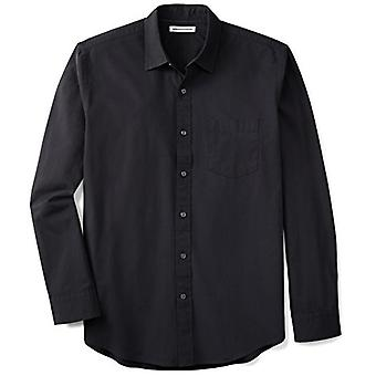 Essentials Men & apos' Regular-Fit långärmad Solid Casual Poplin Shirt, Wa ...