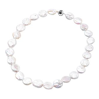 "TJC Keshi White Pearl Coin Necklace for Women Sterling Silver Size 20"", 292.5 Ct"
