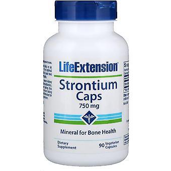 Prolongation de la durée de vie utile, Caps de strontium, Minéral pour la santé d'os, 750 mg, 90 Végétarien C