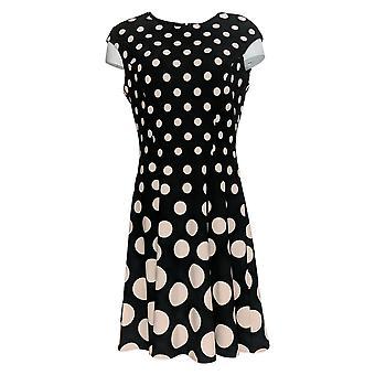London Times Robe Polka Dots avec Back Zipper Noir