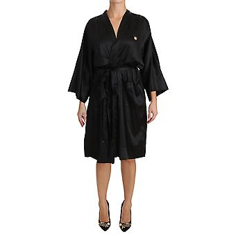 Dolce & Gabbana Black Kimono Gown Silk Dressing Robe DR1613-4