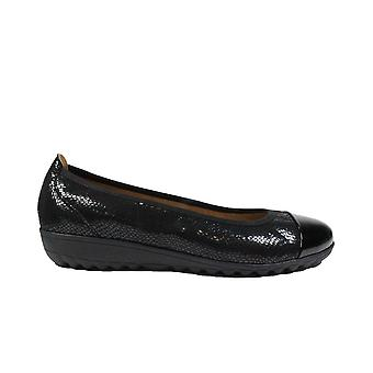 Caprice 22103 Black Reptile Leather Womens Wide Fit Slip On Ballet Shoes