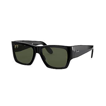راي بان نوماد RB2187 901/31 نظارات لامعة سوداء / خضراء