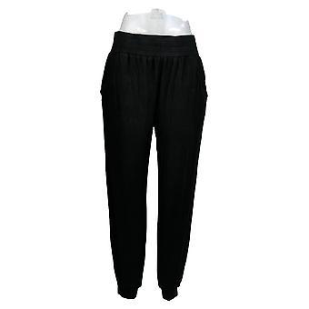 Anybody Women's Petite Pants Cozy Knit Ribbed Jogger Black A365607