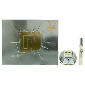 Paco Rabanne Lady Million Lucky Eau de Parfum 50ml & EDP 10ml Travel Spray NEW.