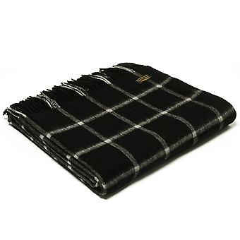Tweedmill Lambswool Chequered Check Black Throw