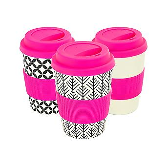 Reusable Coffee Cups - Bamboo Fibre Travel Mugs with Silicone Lid, Sleeve - 350ml (12oz) - 3 Patterns - Pink - x6