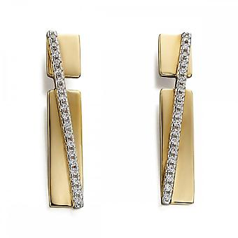 Fiorelli Silver Revised Pave Band Yellow Gold & Clear Zirconia Earrings E5544C