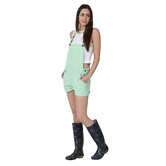 Ladies relaxed fit bib overall shorts - green