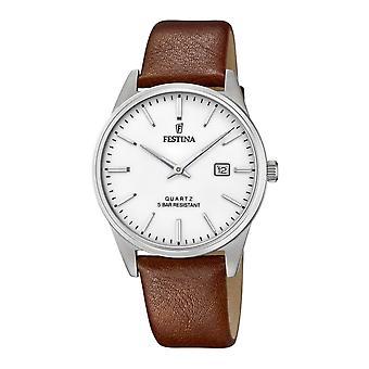 Festina F20512-2 menn's hvit ekstern lys brun lærrem armbåndsur