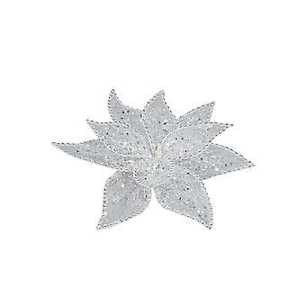 Stjerne clips dekoration sølv 20 cm