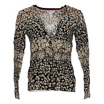 Isaac Mizrahi Live! Damen's Pullover (XXS) Floral Buttn Frnt Schwarz A354773