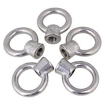 Japanese Style Silver M8 304 Stainless Steel Ring Shape Lifting Eye Nut Set of 5