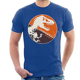 Jurassic Park T Rex Orange Background Skeleton Silhouette Men's T-Shirt