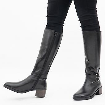 لوتس نيسا السيدات الجلود طويل القامة أحذية الأسود