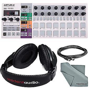 Arturia beatstep pro midi/analogique controller & sequencer et basic bundle w/ resident audio r100 pro stereo headphones + midi cable + fibertique cloth