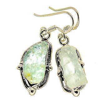 "Rough Aquamarine Earrings 1 3/8"" (925 Sterling Silver)  - Handmade Boho Vintage Jewelry EARR407999"